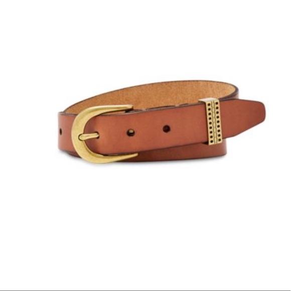 Fossil Accessories - Fossil EMI Emboss Keeper Tan Leather Belt